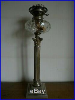 Ancienne Grande Lampe A Petrole A Colonne Hinks & Son Cristal Fin XIX Siecle