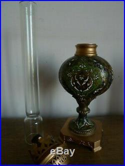 Ancienne Lampe A Petrole Cloisonne Bronze Chine / Orient Fin XIX Siecle