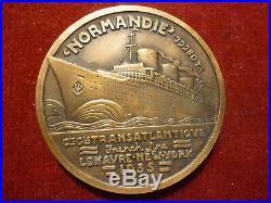 Ancienne Médaille 1935 Paquebot Le Normandie Le Havre New York Art Déco Bronze