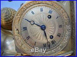 Ancienne Pendule Epoque Empire Bronze Dore Le Berger Debut XIX Siecle