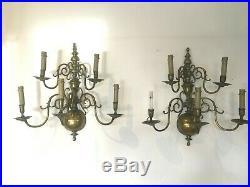 Applique Hollandaise en bronze Paire d'appliques a deux étages XIX siècle