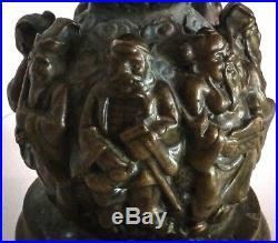 Asie sculpture en bronze patiné avec personnages, d'époque XIX ème siècle