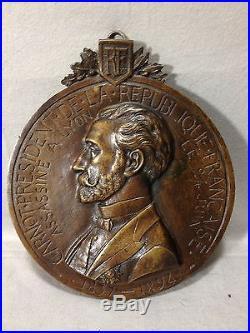 Bas relief médaille en bronze CARNOT signé A. BARGAS président France Ø 21 cm
