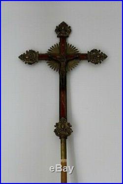 Belle croix de procession en bronze doré et laqué XIXe Siècle