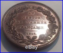 Belle médaille XIXe AU NESTOR DE L'ARMÉE FRANÇAISE signée Puymaurin 1817 Condé