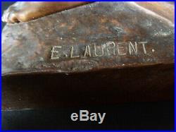 Bronze de Jeanne D'arc à Domrémy signé E. LAURENT XIX Siècle 19th