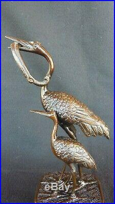 Bronze de grues Japon XIX siècle