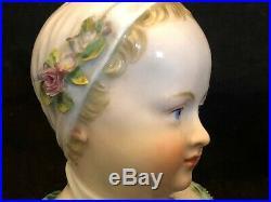 Buste Fillette Meissen Porcelaine Allemande Enfant Statuette XIX ème Siècle