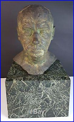 Buste. Sculpture En Bronze. Base En Marbre. Ramon Llisas. Xix-xxe Siecle