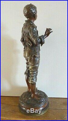 C Anfrie sculpture bronze patiné Le jeune garçon XIX siècle sculpteur français