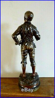 C. Anfrie sculpture bronze patiné Le petit fumeur XIX siècle sculpteur français