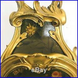 Cartel louis XV en bois laque vernis Martin et bronze doré. XIX siècle