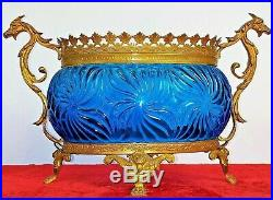 Centre De Table. Verre Bleu. Bronze Doré. France  Fin XIX Siecle