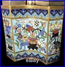 Chine Ancienne Pipe A Eau A Opium Bronze Et Émaux Cloisonnés XIX Éme Siècle