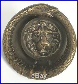 Clef Ou Heurtoir. Bronze Doré. Grand Masque Du Léon Et Serpent. Xixe Siècle