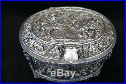 Coffret à bijoux en bronze argenté époque XIX ème siècle