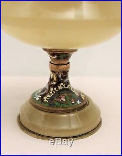 Coupe signée Alphonse Giroux en onyx, bronze et émail cloisonné XIX ème siècle