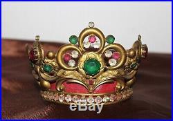 Couronne de Vierge métal doré et pierres de couleurs XIXe Siècle