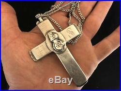 Croix Pectorale Reliquaire de Religieuse Couvent XIX ème Siècle Argent & Chaine