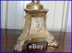 Grand pique cierges Pascal en bronze doré a l'or Hauteur 1 Mètre XIXe Siècle