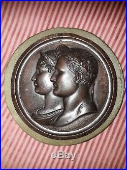Grande Medaille Bronze Andrieu Napoleon Bonaparte Josephine Empire