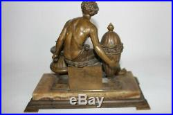 Important encrier Bronze XIXe siècle Antiquités objets de bureau (34704)