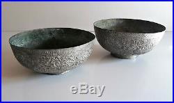 Inde lot de 2 coupes en bronze argenté XIX ème siècle