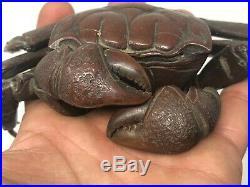 Japon XIX ème Siècle Crabe Bronze Articulé Patine Brune Japonais 19 ème