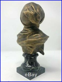 Jeune Garçon Bronze & Marbre Statuette Sculpture XIX ème Siècle Signé Bobbias