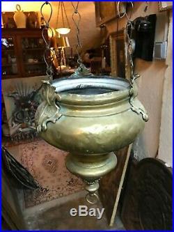 Lampe de Sanctuaire église en laiton et bronze fin XVIII eme début XIX e siècle