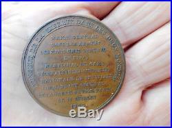 Louis XVI Médaille du Général de La Fayette 1789 Bronze Tranche lisse