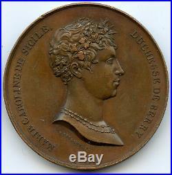 Louis XVIII Médaille par Montagny Baptême du duc de Bordeaux 1821 Rare
