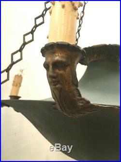 Lustre Empire en bronze et tôle Suspension en tôle laquée vert XIX siècle