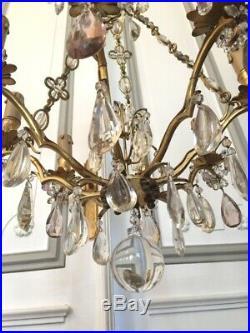 Lustre à chaines en bronze doré et pampilles cristal XIX° siècle