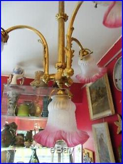 Lustre de Bistrot en Bronze Fin XIX ème début XX ème siècle Tulipes Verre