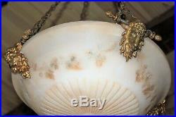 Lustre en bronze têtes de béliers et vasque en albâtre époque XIX ème siècle