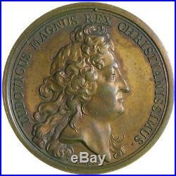 Médaille Louis XIV MAUGER Fondation de Neuf-Brisach 1699 Bronze ABEILLE