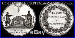Médaille Napoléon 1 et Léon XIII Pape de L'an X 1802- Main de Paix à la Victoire