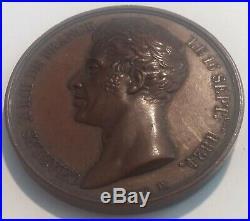 Médaille XIXe Charles X La Religion unit le Roi à la France signée Brun 1825