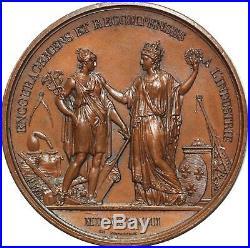 O5108 Rare Médaille Louis XVIII Louis XVIII récomp. Industrie 1823 Gayrard SUP