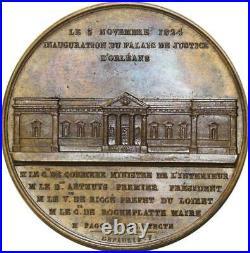 O5512 Rare Medal Charles X Inauguration Palais Justice Orléans 1824 Desnoyers