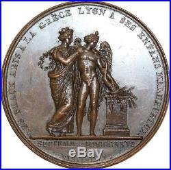O5535 Rare Médaille Exposition charité Beaux-Arts Grec Lyon 1826 Desnoyers SPL