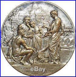 O6480 Rare Médaille Société Architectes Haelling Louis Bottée 1896 Silvered