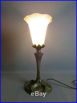 PIED LAMPE ART NOUVEAU BRONZE GEORGES LELEU XIX° SIÈCLE H39 cm