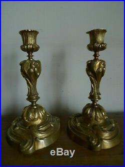 Paire Bougeoirs Flambeaux Louis XV Rocaille Bronze Dore Epoque Xviii-xix Siecle