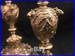 Paire de Bougeoir en Bronze Doré Richement Décoré XIX ème Siècle Flambeaux