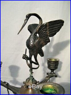 Paire de candélabres aux hérons en bronze Caen Barbedienne époque XIX siècle