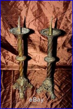 Paire de pique cierges en bronze doré XIXe Siècle