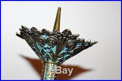Paire de pique cierges en bronze doré et émaillé bleu XIXe Siècle