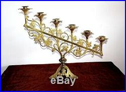 Paire de rampes d' autel en laiton doré XIXe Siècle